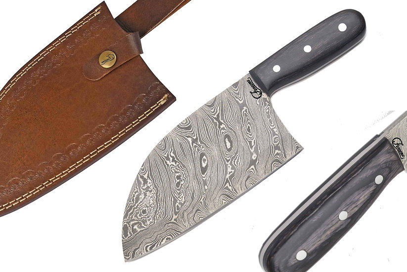 "Damascus 8"" Serbian Chef Knife Cleaver with Black Pakkawood Handle FC7103-1"