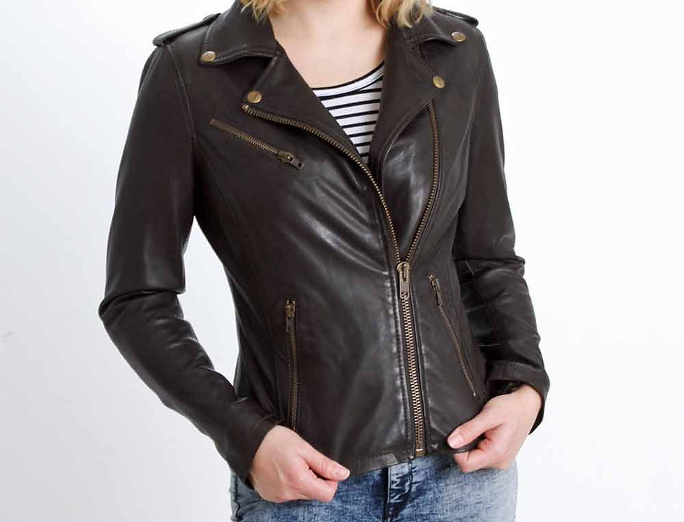 Faneema Riva Moto Lambskin Leather Jacket for Women, Espresso Brown