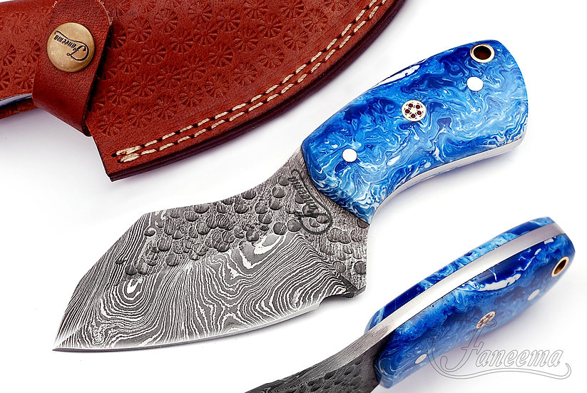 """Damascus 3"""" Skinner with Blue Marble Resin Handle FC2103-4"""