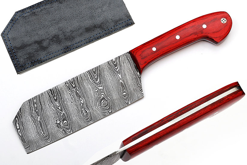 "Damascus 6"" Cleaver with Red Pakawood Handle FC7101-1"