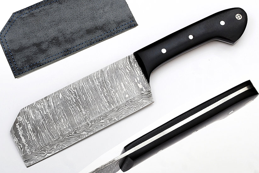"Damascus 6"" Cleaver with Black Pakkawood Handle FC7101"