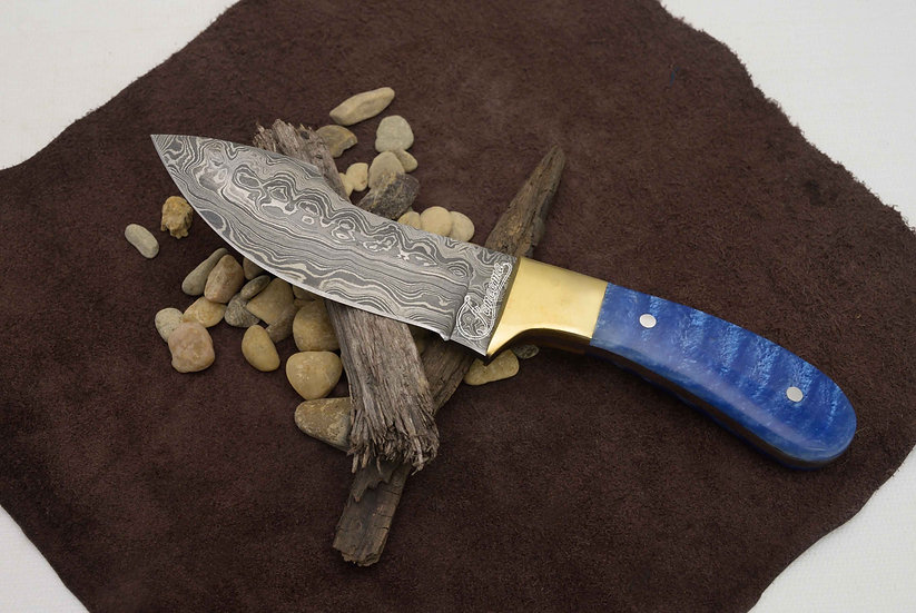 """Damascus 5"""" Knife With Blue Resin Handle and Brass Bolster FC2530"""