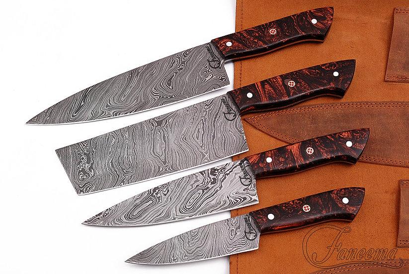 Damascus 4-Piece Kitchen Knife Set with Bronze Design Resin Handle FC3127