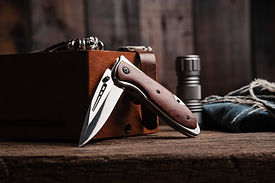 stainless steel folding knife with woode