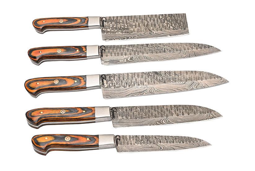 Damascus 5-Piece Kitchen Knife Set w/ Orange & Black Pakkawood Handles FC3117-2