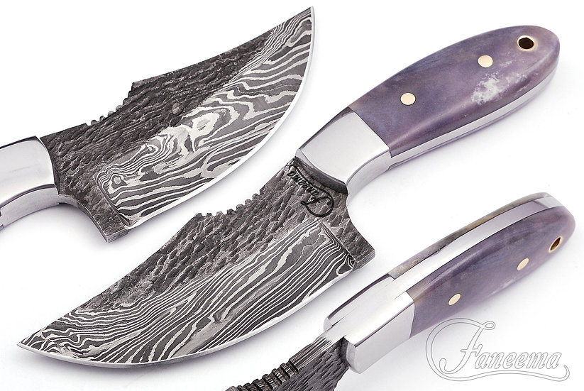 "Damascus 4"" Skinner with Gray Colored Bone Handle FC2511"