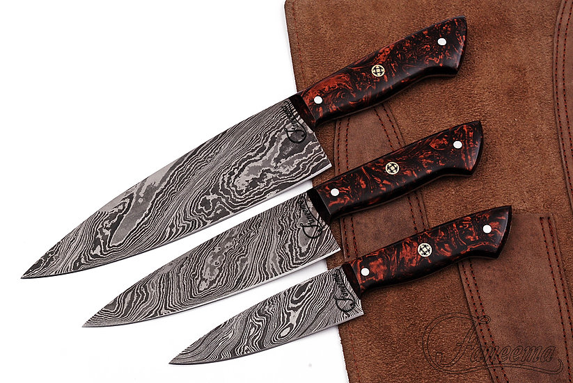 Damascus 3-Piece Chef Knife Set with Bronze Design Resin Handles FC3107-1