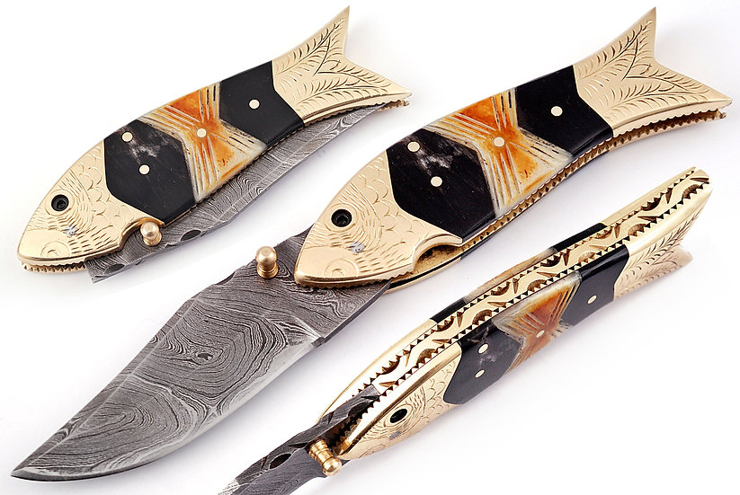 "Damascus 3"" Pocket Knife with Brass, Bone & Horn Handle FC1107-1"