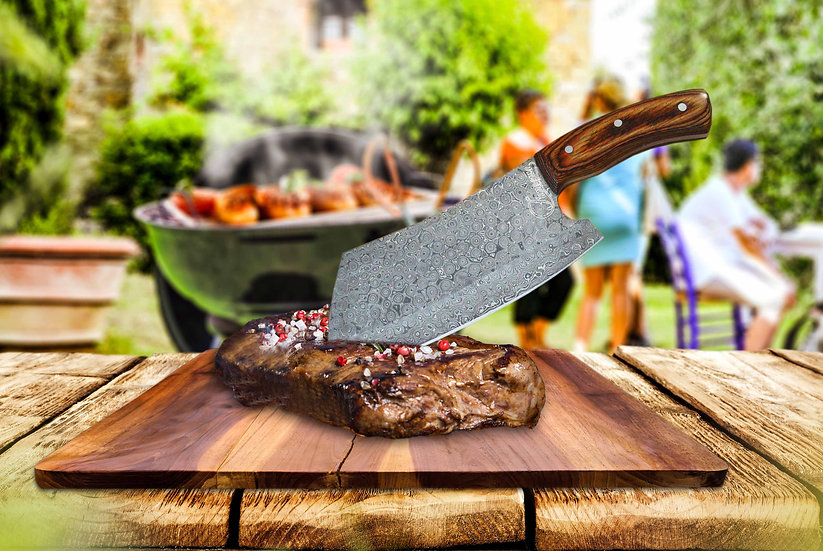 """Damascus 6"""" Cleaver with Pakkawood Handle FC7102-1"""