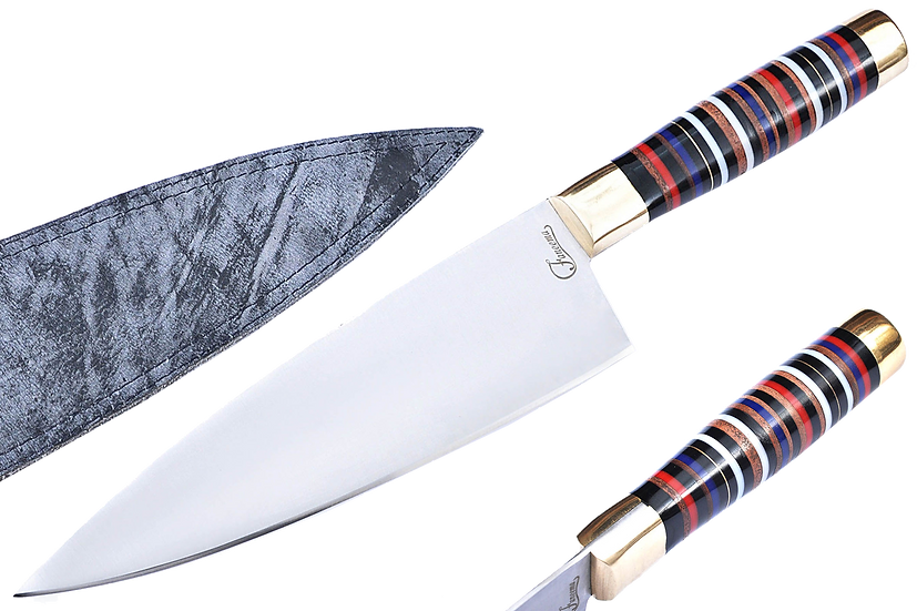 "1095 Steel 8"" Chef Knife with Multi Color Resin and Pakkawood Handle  FC6120"