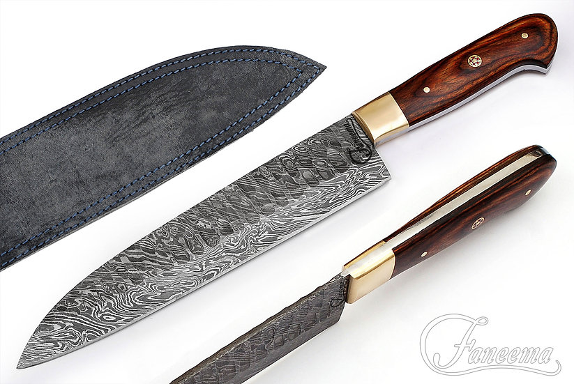 "Damascus 7.5"" Santuko Knife with Pakkawood Handle and Brass Bolster FC6103"