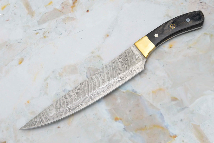 "Damascus 9"" Chef Knife with Black Pakkawood Handle and Brass Bolster FC6115"