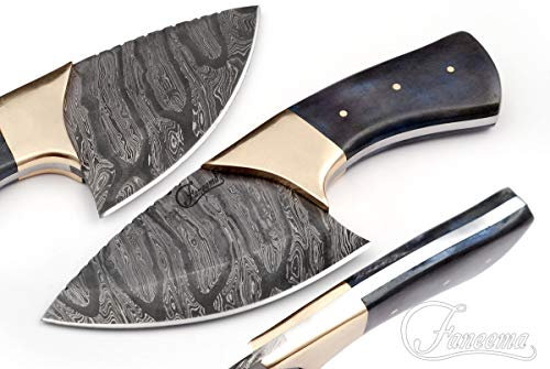 """Damascus 4.5"""" Skinner with Gray Colored Bone Handle and Brass Bolster FC2519"""