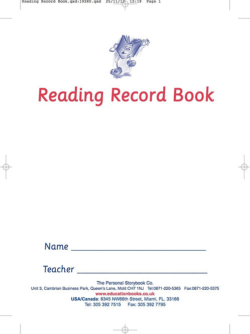 Reading Record Book (Min. Order Qty 20)