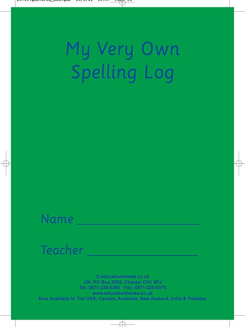 My Very Own Spelling Log... Min. Order Qty 120 books