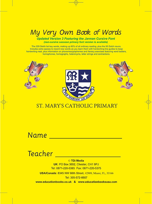 My Very Own Book of Words v3 with School Name & Crest on Cover  (Min. Qty 100)