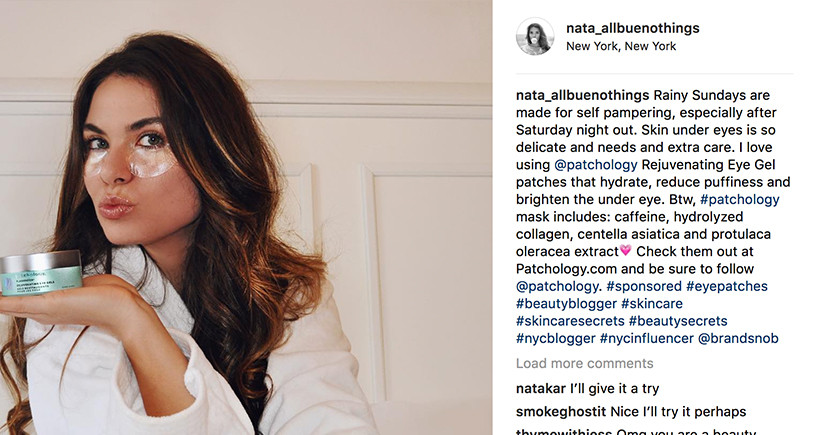 Beauty Influencer @nata_allbuenothings promoting Patchology on Instagram