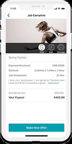 Influencer getting paid on BrandSnob