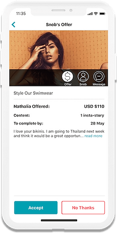 Booking and paying inflencers on BrandSnob