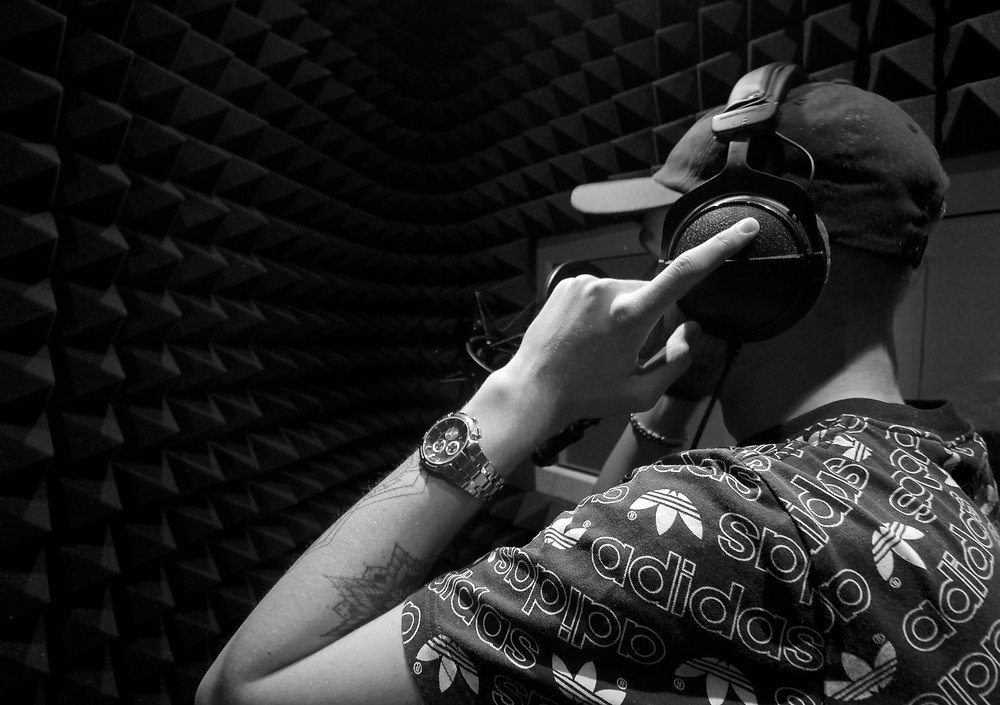 Johan in the recording booth