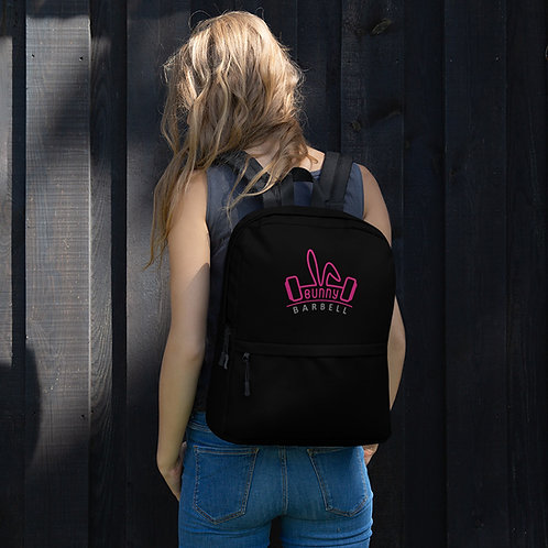 Bunny Barbell - Black Backpack with Pink Channel Logo