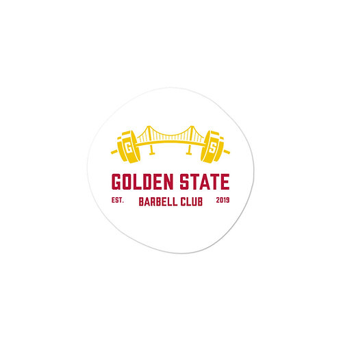 Golden State Barbell - White Sticker w/Yellow & Red Logo