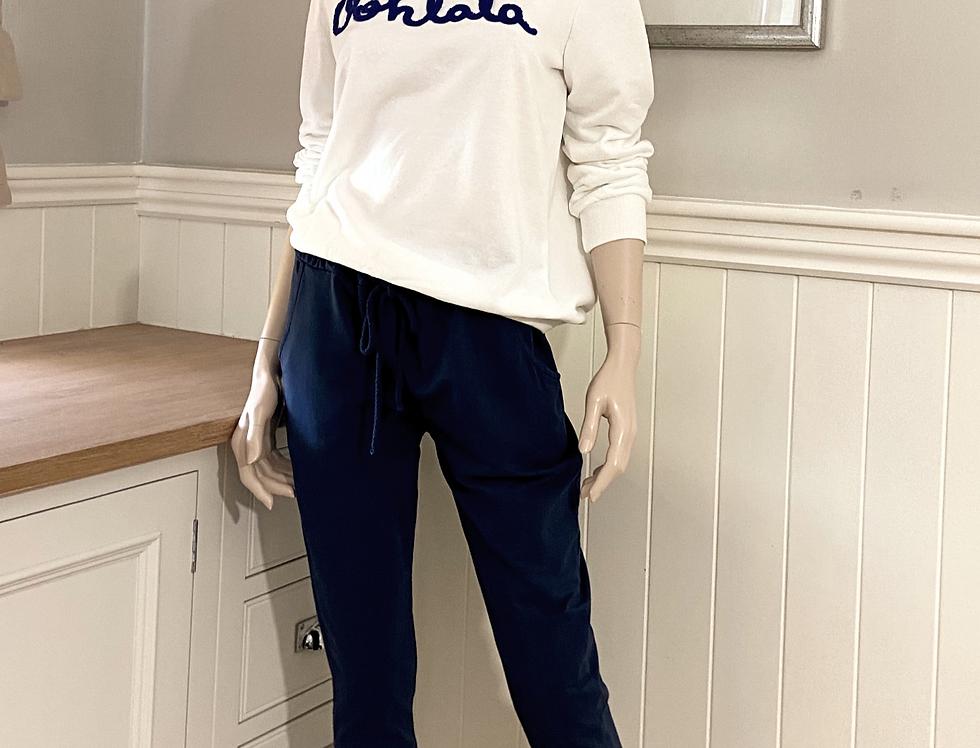 Oohlala Sweatshirt in Weiss mit Blau