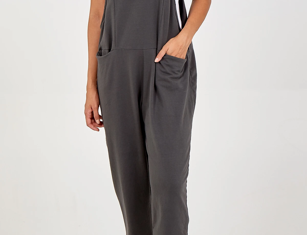 LILY Bow Dungarees in Charcoal Grey