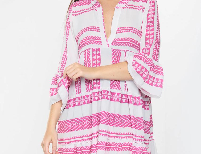 Cora Aztec Dress in Pink