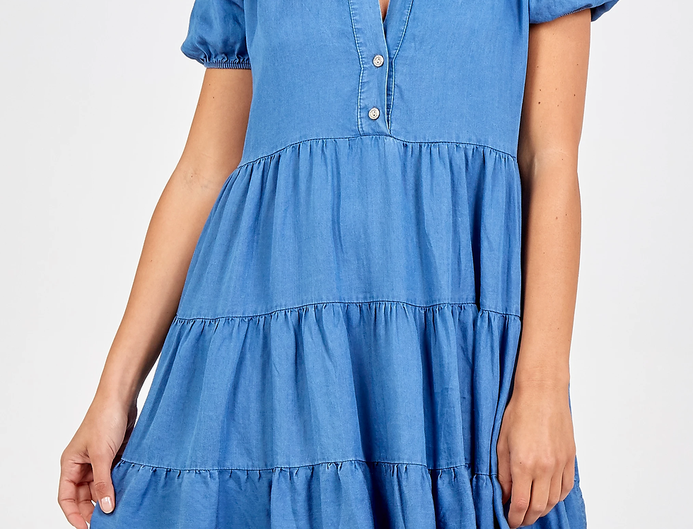 Elli Light Denim Blue Tiered Dress
