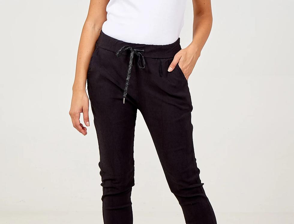 Magic Stretch & Crushed Pants in Black