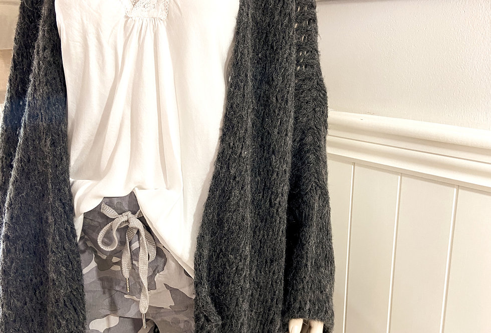 Charlize Oversized Cardigan in Charcoal Grey