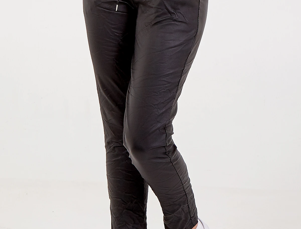 Magic Stretch Coated Pants in Black