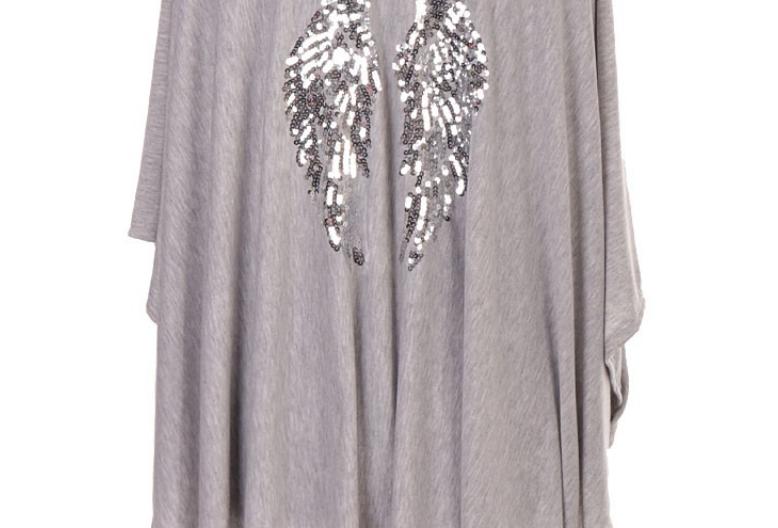 Josie Angel Wing Waterfall Cardigan in Grey