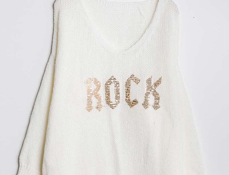 """""""Rock"""" Knit Jumper in Winter White"""