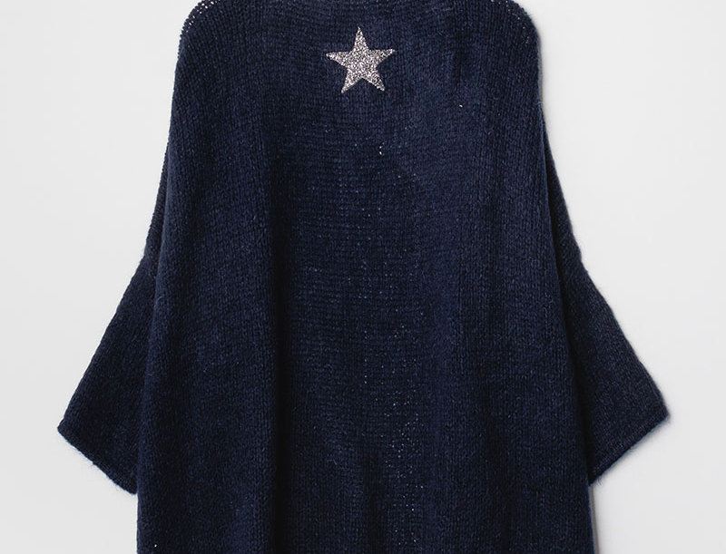 ERIN Knit Cardigan in Navy Blue with Silver Star