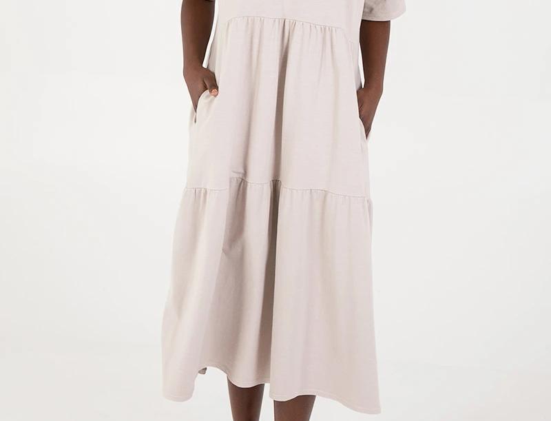 Mimi Tiered Midi Dress in Beige