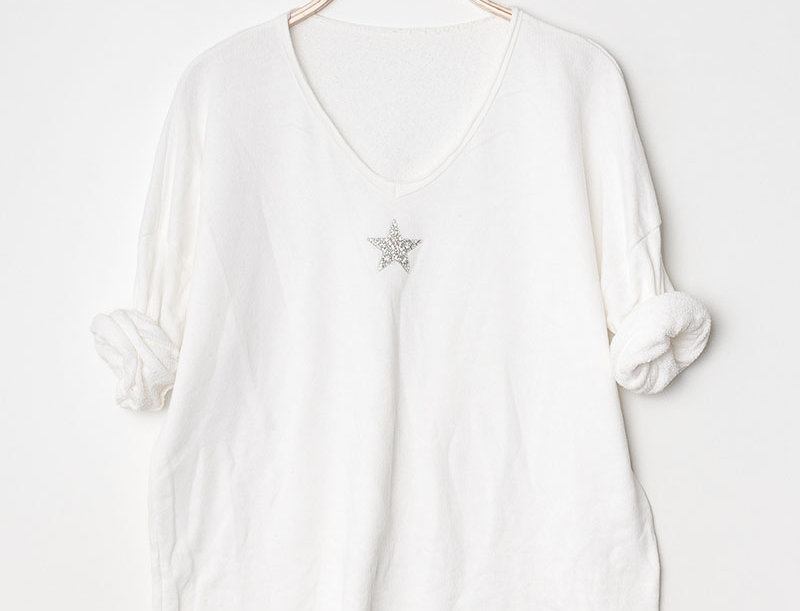 Leah Star Print Sweater in White
