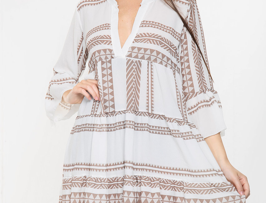 Cora Aztec Dress in Coffee