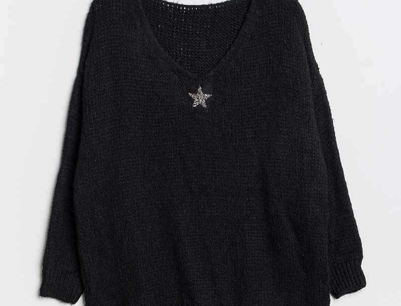 Lola Jumper in Black with Silver Star