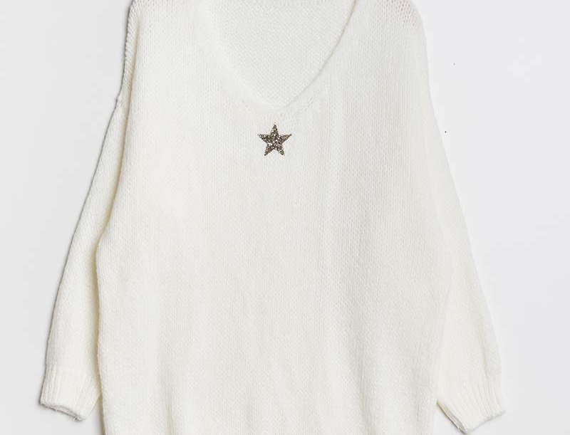 Lola Jumper in White with Silver Star