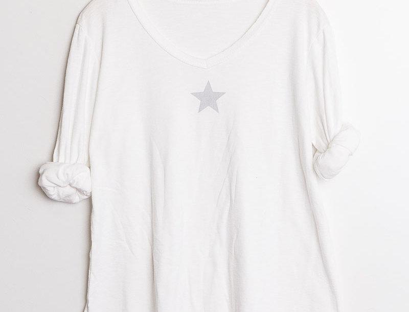 NOLA Shirt in White & Silver Star Print
