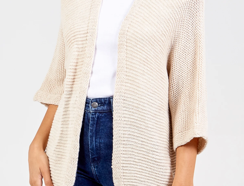 Ricky 3/4 Sleeve Cardigan in Stone