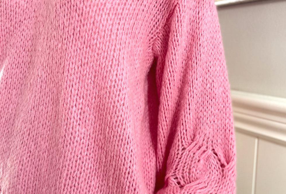 Jenny Balloon Sleeve Sweater in Fuchsia Pink