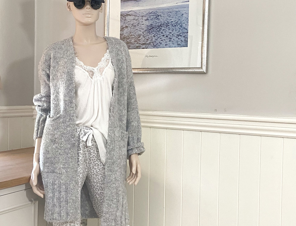 Sienna Cardigan Long in Light Grey