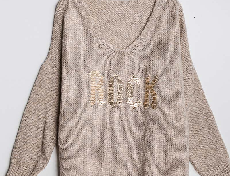 """Rock"" Knit Jumper in Beige"