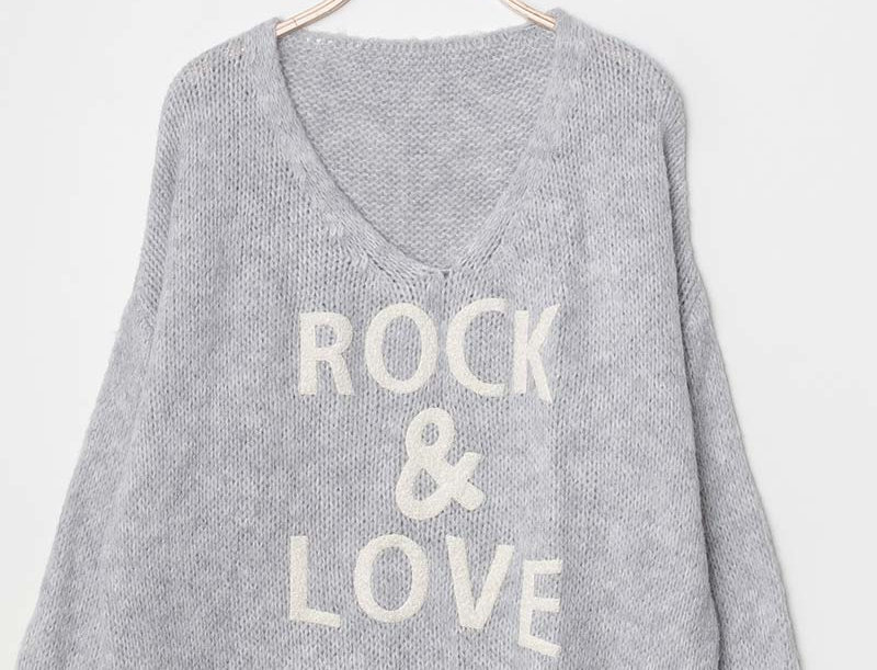 Sadie Rock & Love Sweater in Light Gray