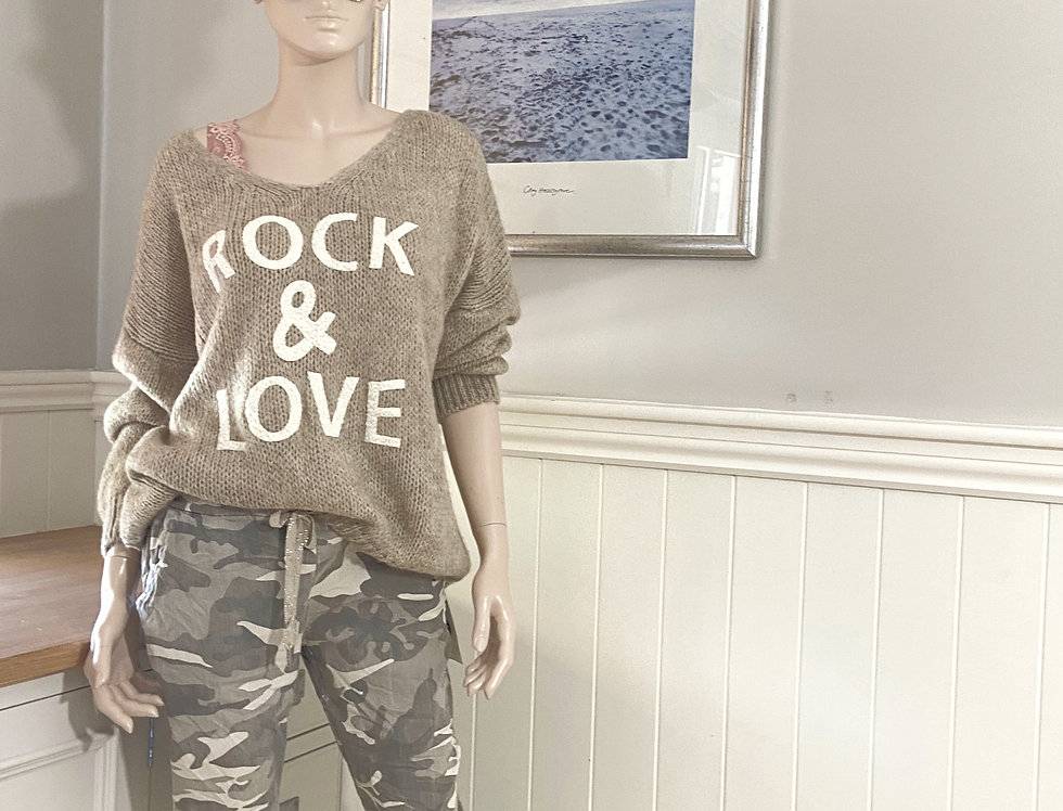 Sadie Rock & Love Sweater in Beige