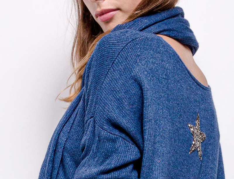 KATIE Sweater with Scarf in Denim Blue