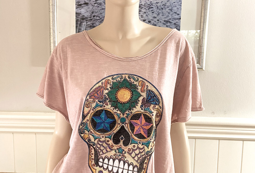 Sequin Skull T Shirt in White, Pink and Charcoal
